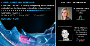Webinar – Cracking the pill: A journey of exploring abuse-deterrent methods from the laboratory, to the clinic, to the real user