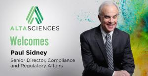 Paul Sidney Joins Altasciences as Senior Director, Compliance and Regulatory Affairs