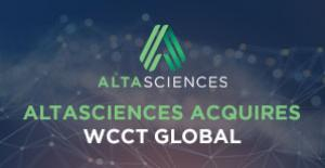 "A night-like sky with stars and chemical-like webbing with the words ""Altasciences Acquires WCCT Global"" written on top."