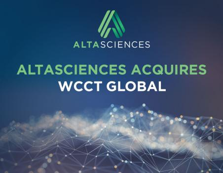 "A starry night with chemical-like webbing and the words ""Altasciences Acquires WCCT Global"" written over top."